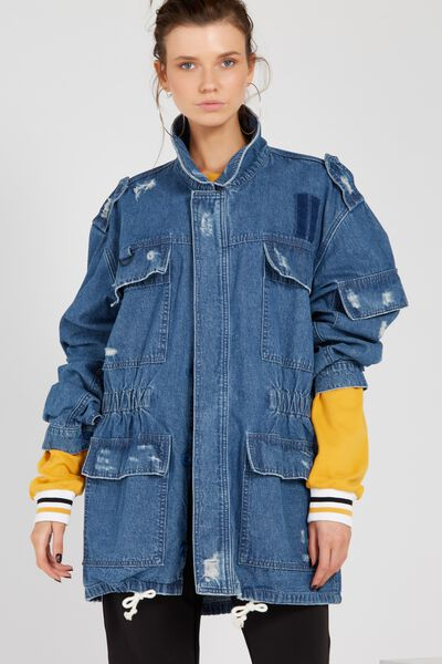 Denim Longline Utility Jacket, BLUE