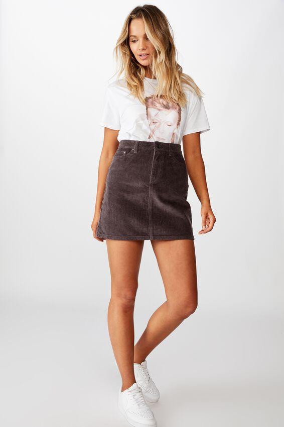 Remi Cord Mini Skirt, GRANITE GREY