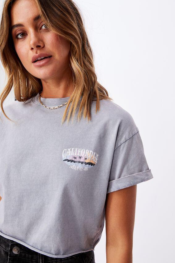 Tamara Printed Crop T Shirt, VINTAGE WASH BLUE GREY/CALI SURF CLUB