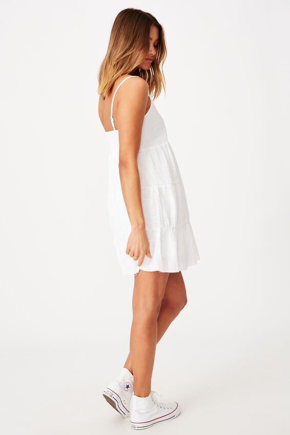 Mila Strappy Tiered Dress, WHITE