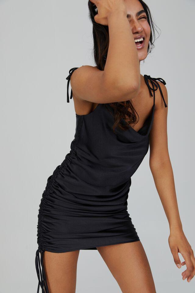 Cameron Cowl Neck Ruched Midi Dress, BLACK