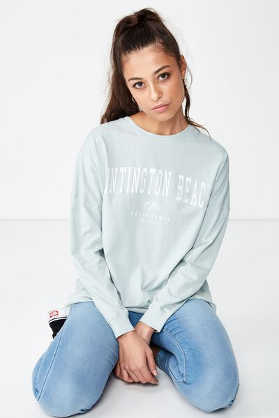 Barbados Long Sleeve Tee, SNOW GUM/HUNTINGTON BEACH