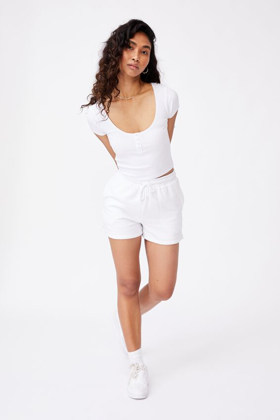 Laney Snap Button Short Sleeve Top, WHITE