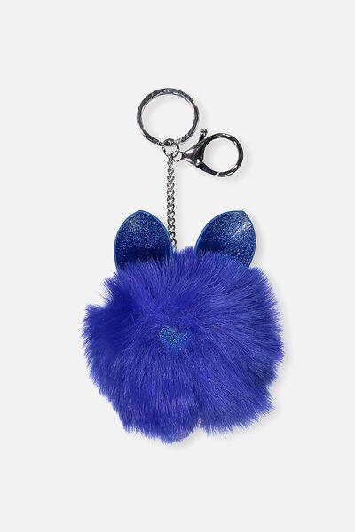 Faux Fur Glitter Ears Keyring, BLUE