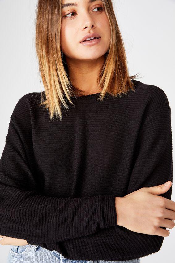 Taylor Crew Neck Long Sleeve Top, BLACK