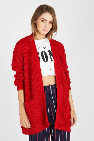 Slouchy Longline Cardi, RED