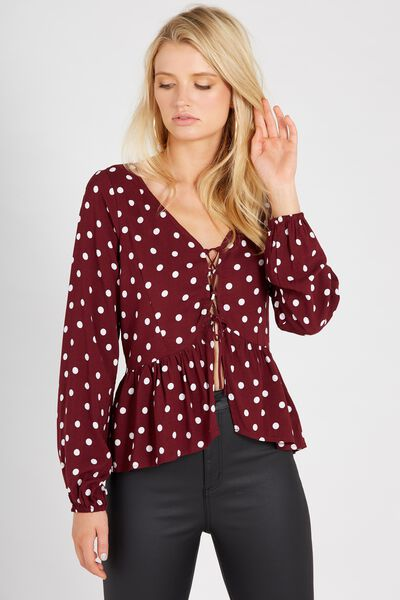Suzie Long Sleeve Top, BURGUNDY POLKADOT