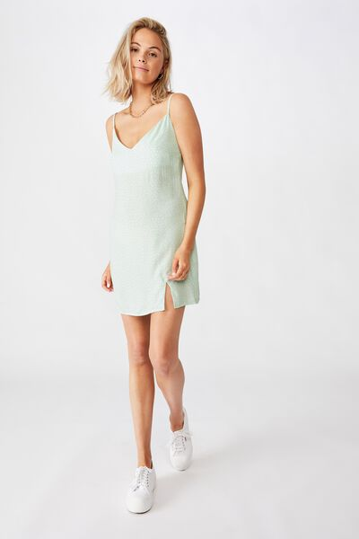 Bella Slip Dress, PEBBLE SPOT MINT
