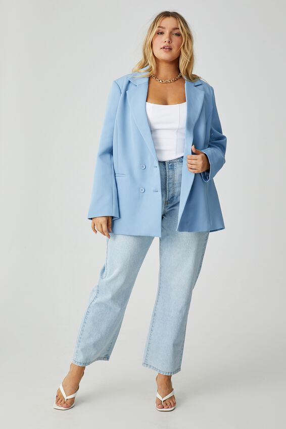 Charlotte Oversized Blazer, HAZEY BLUE