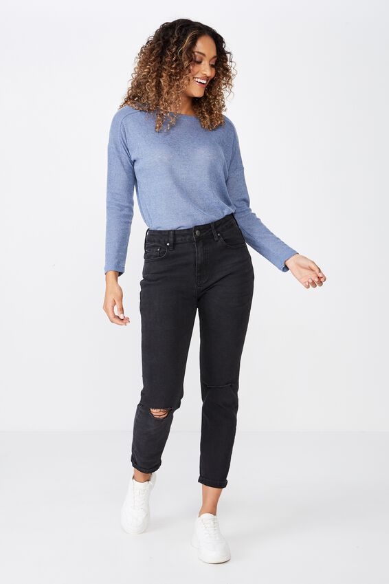 Naomi Long Sleeve Light Weight Top, JEAN BLUE