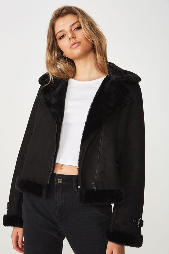 Crop Aviator Jacket, BLACK/BLACK
