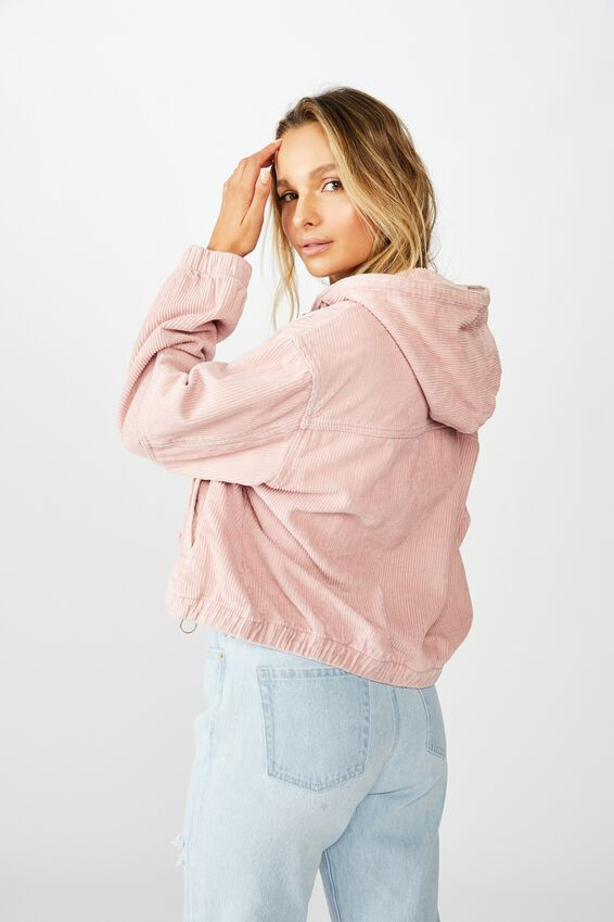 Cord Slouch Hooded Jacket, ANTIQUE ROSE