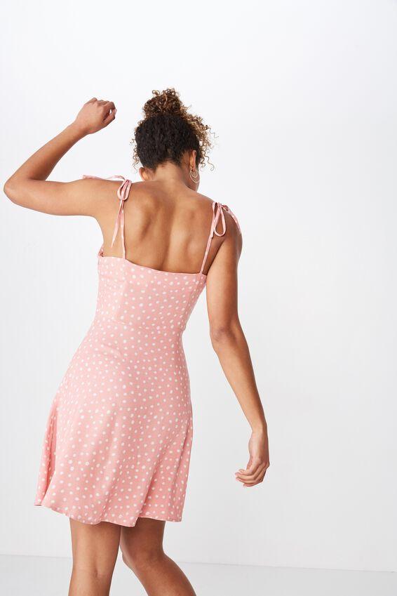 Rylie Tie Shoulder Skater Dress, PINK DITSY FLORAL