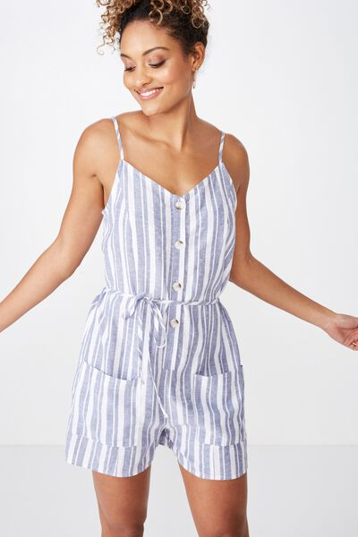 47f0551d9e05d Charlie Button Front Linen Playsuit, TERRY STRIPE STORM BLUE