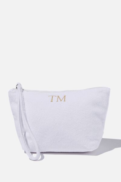 Personalised Towelling Cos Bag, WHITE