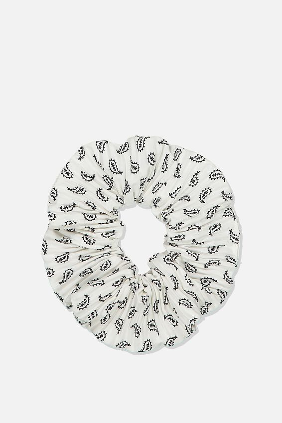 Scrunchie, PLEATED PAISLEY WHITE