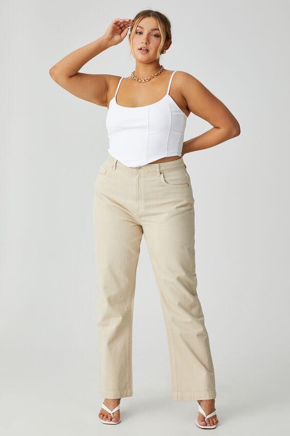 Full Length Wide Leg Jean, ECRU FADE