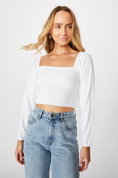 Willow Puff Sleeve Top, WHITE