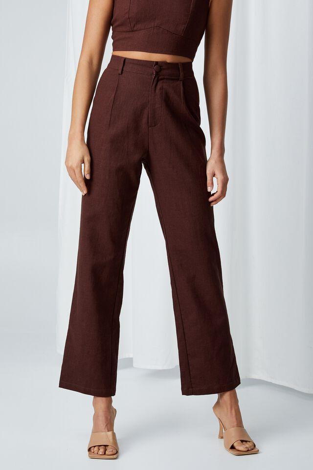 Cece Linen Blend Straight Leg Pant, CHOCOLATE