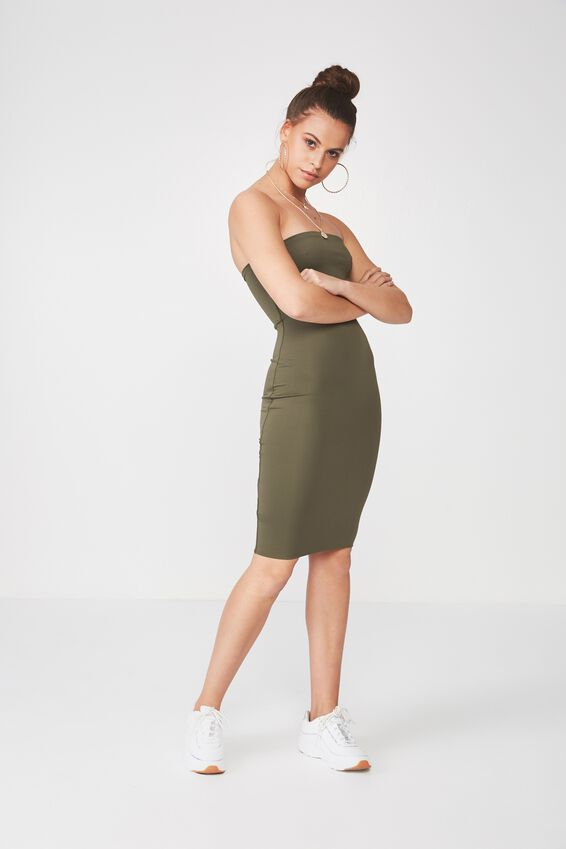 Party Strapless Midi Dress, KHAKI