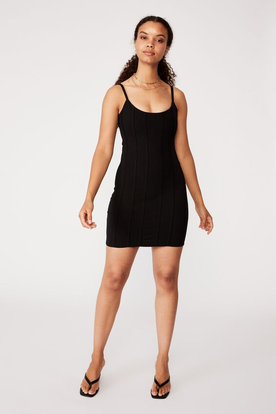 Skye Panelled Bodycon Dress, BLACK