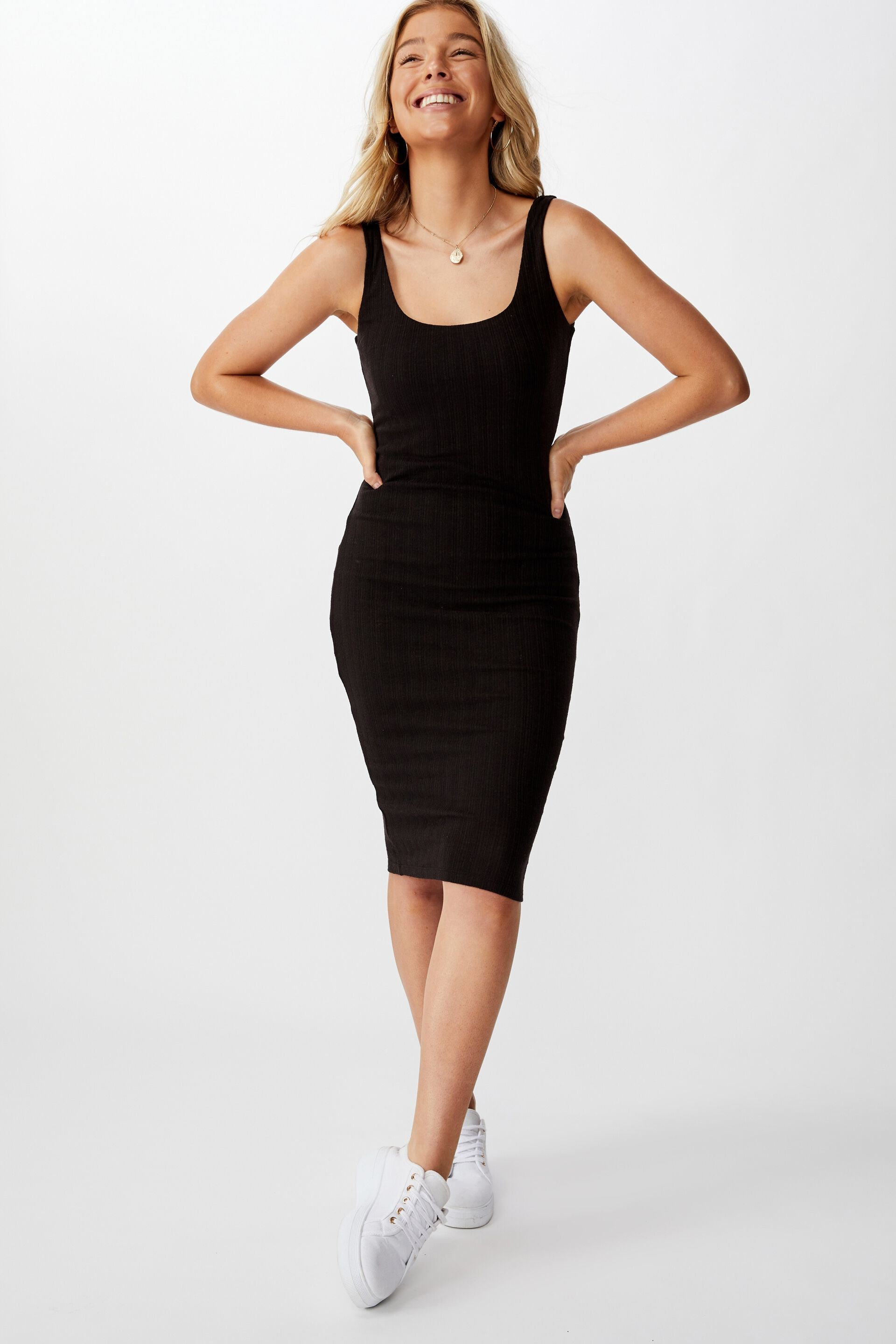 Women/'s Black Ribbed Cami Plunge Neck Bodycon Dress