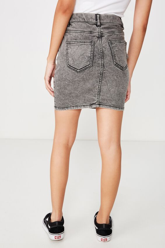 Chloe Stretch Denim Mini Skirt, BLACK ACID WASH