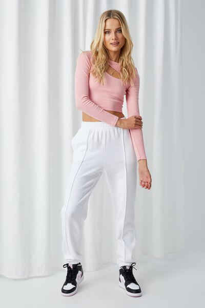 Kirby Pintuck Track Pant, WHITE