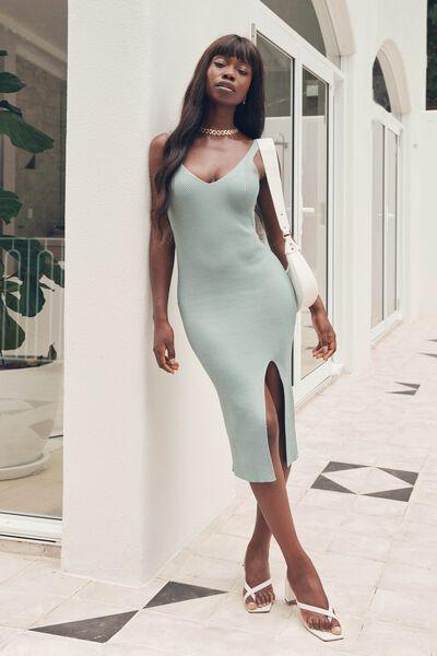 Ivory Knit Midi Dress, SOFT MOSS