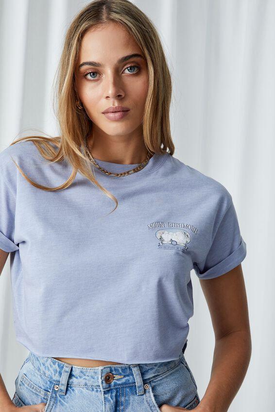 Mount Rushmore Crop T Shirt, BLUE RIDER MARLE/MOUNT RUSHMORE