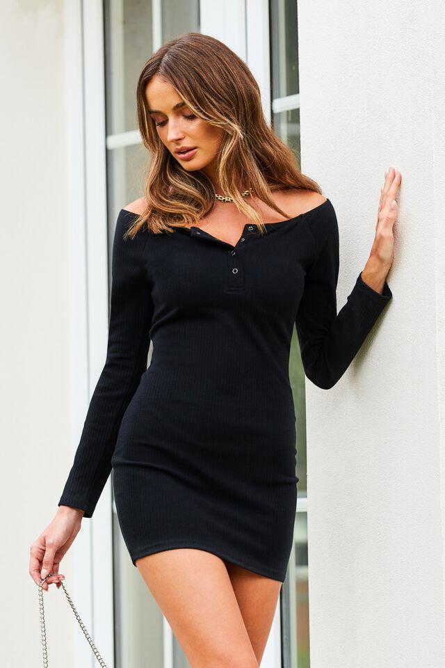 Pia Buttoned Mini Dress, BLACK