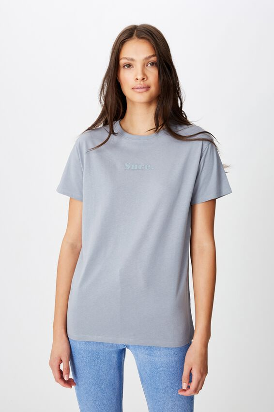 Lola Printed Longline T Shirt, BLUE GREY SURE