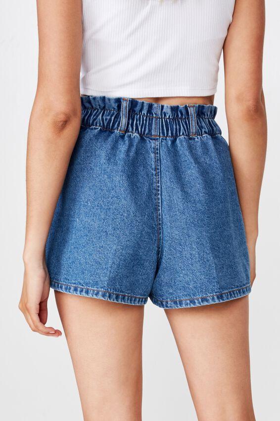 Amalfi Paperbag Waist Shorts, HARBOUR BLUE