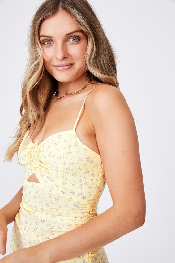 Ashley Ruched Dress, LIBBY FLORAL CREAMY YELLOW