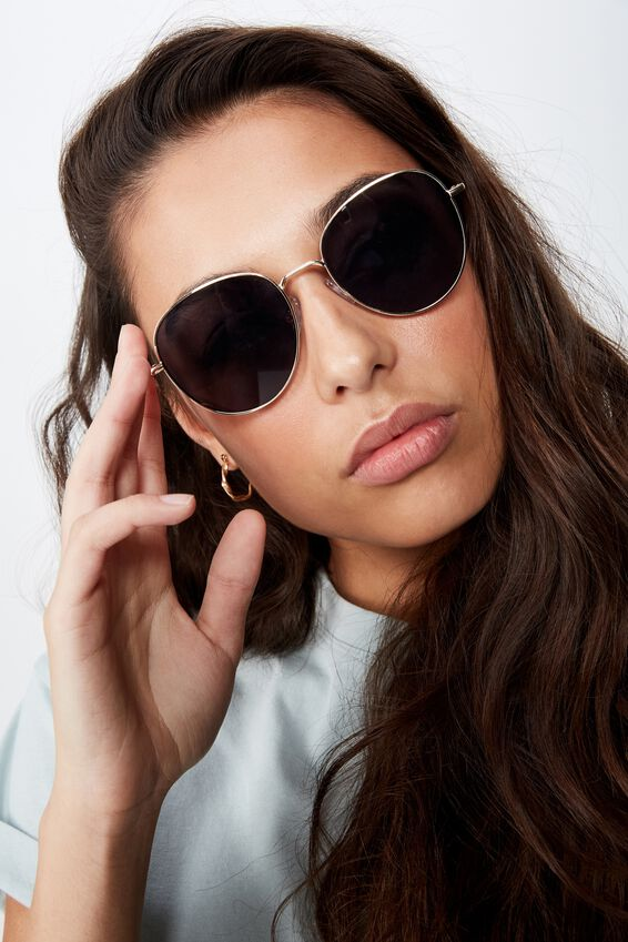 Frankie Round Sunglasses, GOLD/BLACK