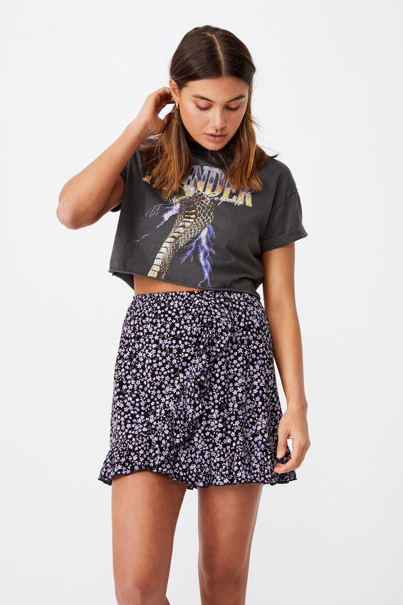 Alana Frill Wrap Skirt, STELLA FLORAL BLACK