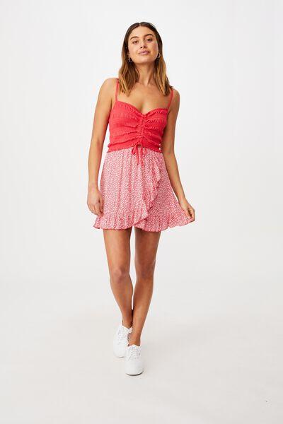 Alana Frill Wrap Skirt, CORA MONO FLORAL HIBISCUS