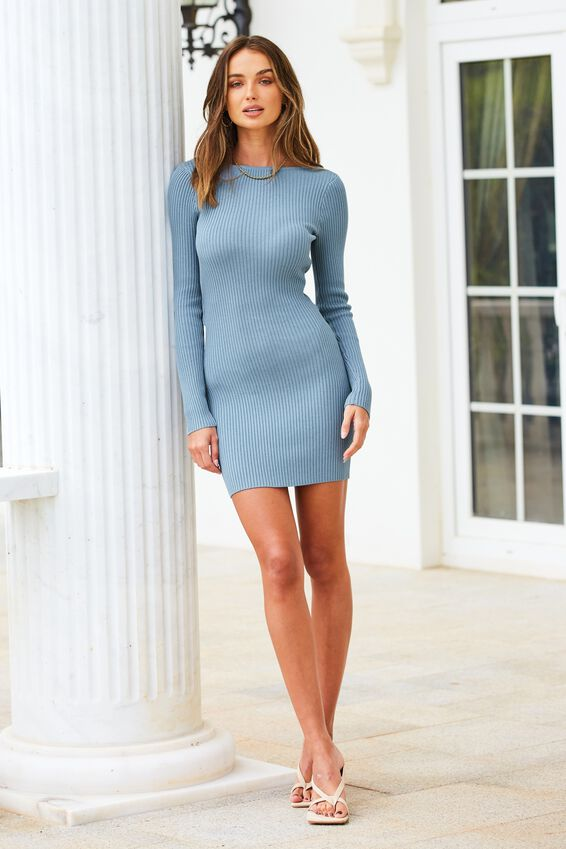 Long Sleeve Reversible Mini Dress, ARGO BLUE
