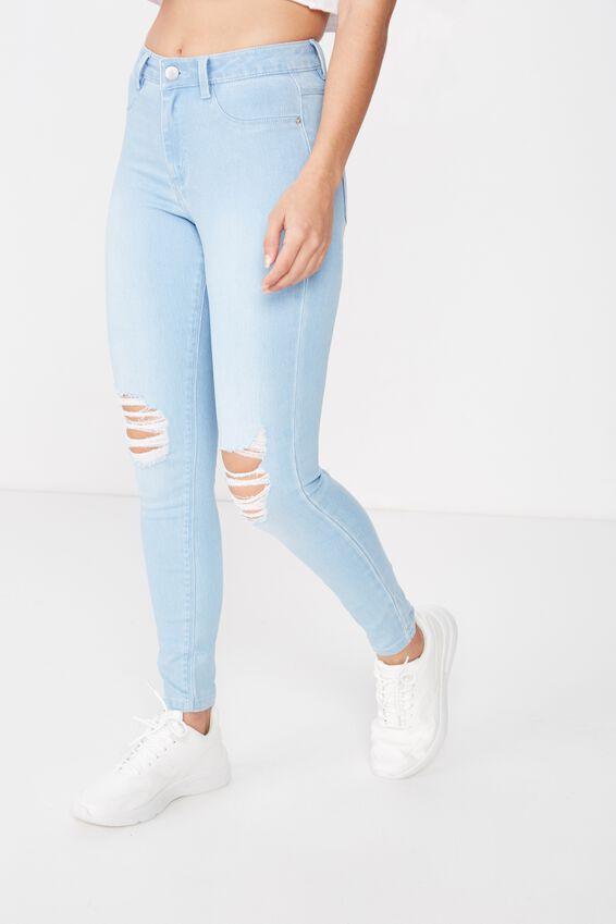 Super Skinny Ripped Jean, CRYSTAL BLUE RIPPED