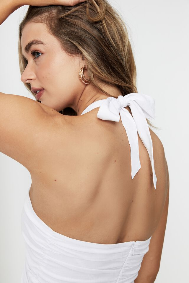 Madilyn  Ruched Halter Dress, WHITE