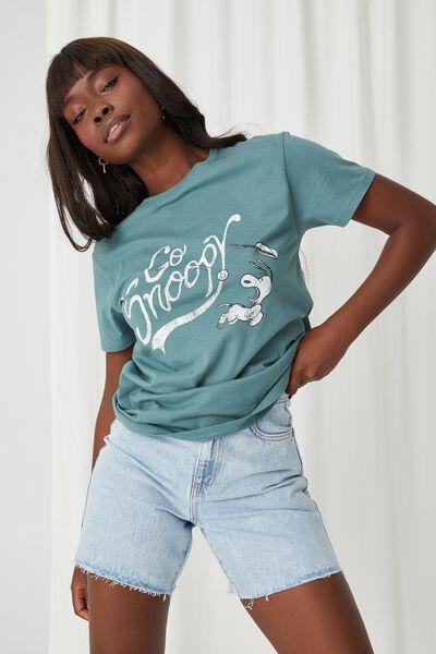 Kylie Printed T Shirt, VALLEY GREEN/LCN PEA SNOOPY VARSITY