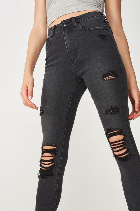 Skinny Premium Ripped Jean, SMOKEY BLACK