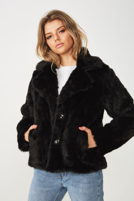 Aria Faux Fur Coat, BLACK