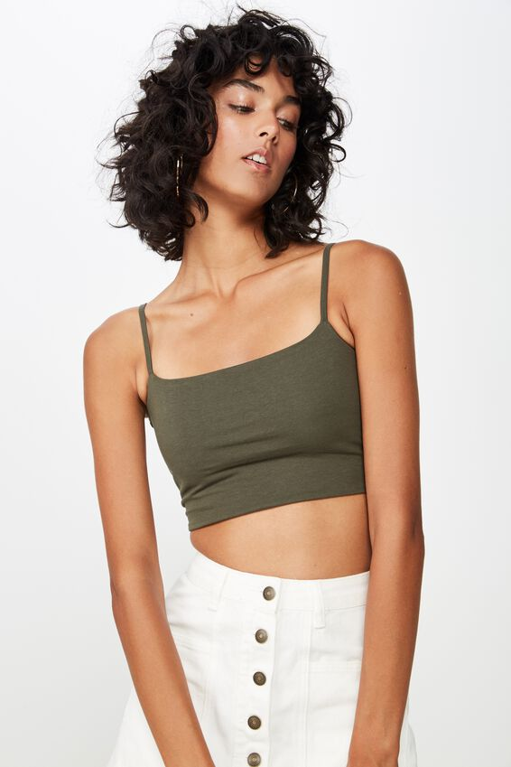 Basic Thin Strap Crop, JAY KHAKI