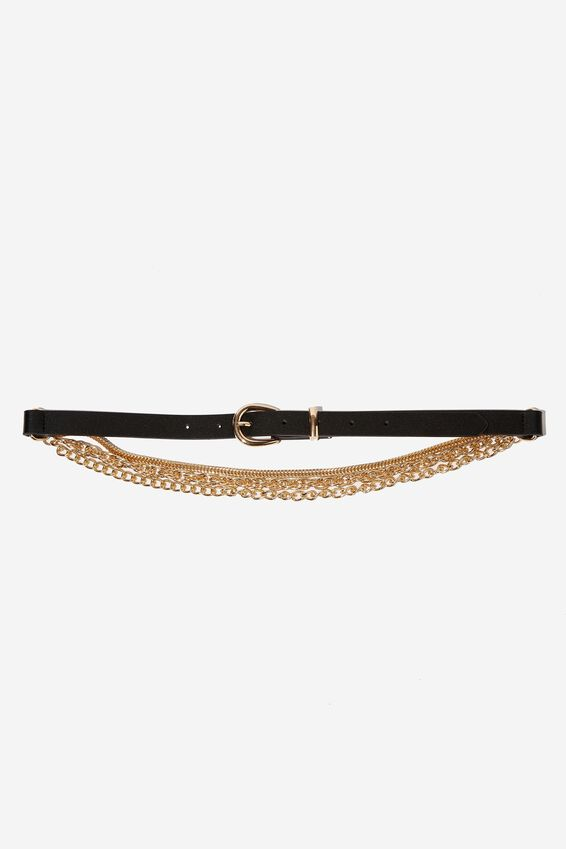 Chain Back Belt, BLACK/GOLD