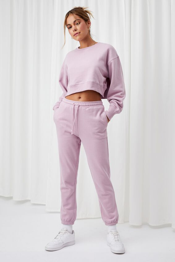 Louisa Cropped Jumper, FROSTY MAUVE
