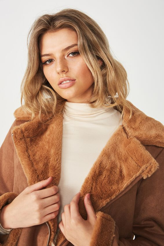 Crop Aviator Jacket, TAN/BISCUIT