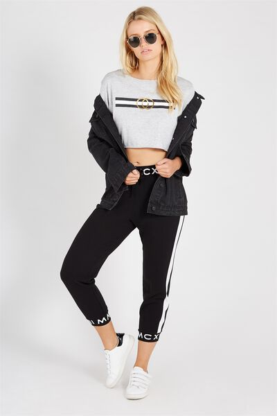 Graphic Band Track Pant, BLACK/TEXT