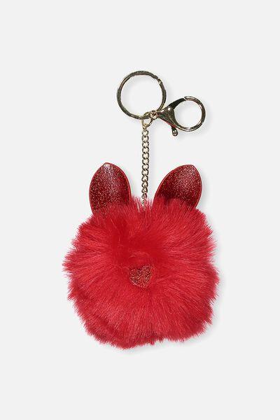 Faux Fur Glitter Ears Keyring, RED