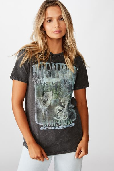 Lola Printed Longline T Shirt, WASHED PHANTOM HIGHWAY WOLF